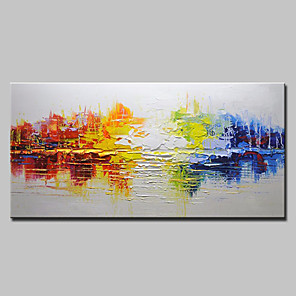 cheap Abstract Paintings-Oil Painting Hand Painted - Abstract Modern European Style Stretched Canvas