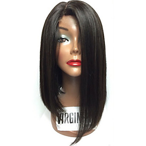 cheap Synthetic Lace Wigs-Remy Human Hair Human Hair Glueless Lace Front Lace Front Wig Bob style Brazilian Hair Straight Wig 130% Density with Baby Hair Natural Hairline African American Wig 100% Hand Tied Women's Short