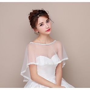 cheap Wedding Veils-Capelets Lace / Tulle Wedding / Birthday Party Women's Wrap With