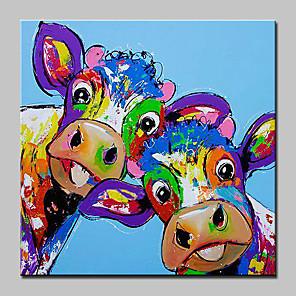 abordables Cuadros de Animales-Pintura al óleo pintada a colgar Pintada a mano - Animales Abstracto Contemporáneo moderno Incluir marco interior / Lona ajustada
