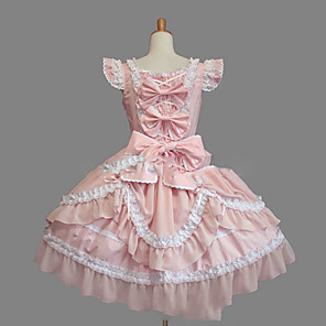 cheap Lolita Dresses-Princess Sweet Lolita Dress Women's Girls' Lace Cotton Japanese Cosplay Costumes Plus Size Customized Pink Ball Gown Vintage Cap Sleeve Sleeveless Short / Mini
