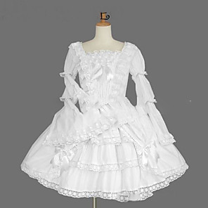 cheap Lolita Footwear-Princess Gothic Lolita Dress Women's Girls' Japanese Cosplay Costumes Plus Size Customized White Ball Gown Vintage Cap Sleeve Long Sleeve Knee Length
