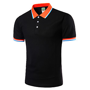 cheap Video Game Accessories-Men's Plus Size Solid Colored Slim Polo Active Daily Going out Weekend Shirt Collar White / Black / Green / Royal Blue / Light gray / Spring / Short Sleeve