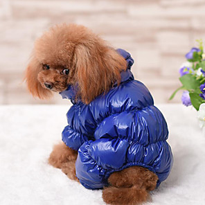 cheap Dog Clothes-Dog Coat Jumpsuit Jacket Winter Dog Clothes Warm Black Red Dark Blue Costume Down Cotton Solid Colored Casual / Daily Keep Warm XS S M L XL XXL