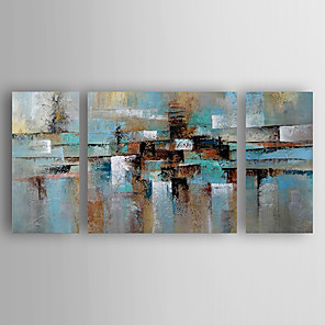 cheap Oil Paintings-Oil Painting Hand Painted - Abstract Abstract Modern Contemporary Stretched Canvas / Three Panels