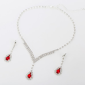 cheap Jewelry Sets-Women's AAA Cubic Zirconia Synthetic Ruby Jewelry Set Necklace Drop Heart Luxury Elegant Fashion Zircon Earrings Jewelry Red For Wedding Party Anniversary