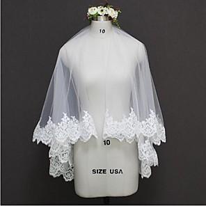 cheap Wedding Veils-Two-tier Lace Applique Edge / Wedding Wedding Veil Wedding Veils with Lace Princess / Classic