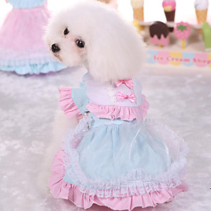 cheap Jewelry Sets-Dog Dress Princess Casual / Daily Dog Clothes Pink Light Blue Costume Cotton XS S M L XL
