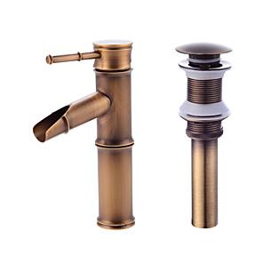 cheap Bathroom Sink Faucets-Contemporary Centerset Ceramic Valve Single Handle One Hole Antique Copper, Faucet Set