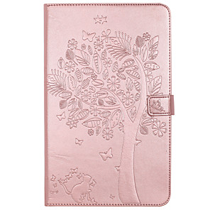 cheap Samsung Case-Case For Samsung Galaxy / Tab A 8.0 / Tab A 9.7 Tab E 9.6 / Tab A 7.0 / Tab A 10.1 (2016) Wallet / Card Holder / with Stand Full Body Cases Cat / Butterfly / Tree Hard PU Leather