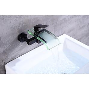 cheap Bathroom Sink Faucets-Bathtub Faucet - Contemporary / Antique Oil-rubbed Bronze Centerset Ceramic Valve Bath Shower Mixer Taps / Brass / Single Handle Two Holes