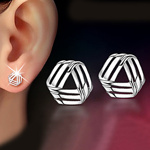 cheap Bags & Cases-Women's Stud Earrings Geometrical Twisted Dainty Ladies Classic Delicate Earrings Jewelry Silver For Christmas Gifts Wedding Party Special Occasion Anniversary Birthday