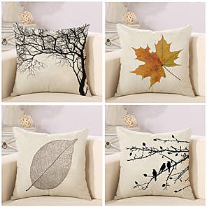 cheap Throw Pillow Covers-Set of 4 Cotton / Linen Pillow Cover Pillow Case, Botanical Novelty Classic Classical Retro Traditional / Classic Throw Pillow