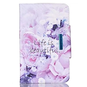 cheap Samsung Case-Case For Samsung Galaxy / Tab A 9.7 Wallet / Card Holder / with Stand Full Body Cases Flower Hard PU Leather for Tab 4 10.1 / Tab 4 8.0 / Tab 4 7.0
