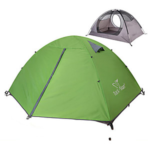 cheap Tents, Canopies & Shelters-2 person Backpacking Tent Outdoor Rain Waterproof Dust Proof Foldable Double Layered Camping Tent 1500-2000 mm for Camping / Hiking Outdoor Nylon Polyester Taffeta
