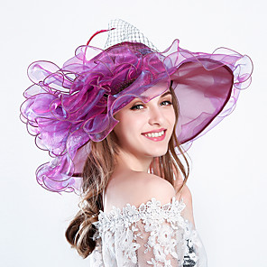 cheap Party Hats-Feather / Silk / Organza Kentucky Derby Hat / Fascinators / Hats with Floral 1pc Wedding / Special Occasion / Party / Evening Headpiece