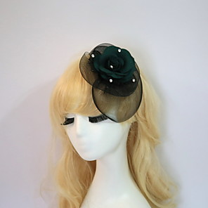 cheap Fascinators-Gemstone & Crystal / Tulle / Resin Fascinators / Flowers / Hats with Crystal / Feather 1 Wedding / Special Occasion / Halloween Headpiece