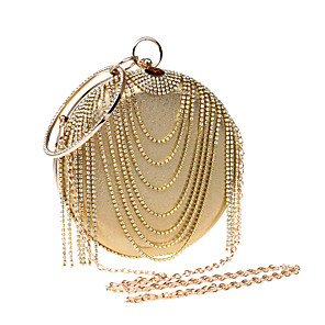 cheap Clutches & Evening Bags-Women's Rhinestone Polyester / PU Evening Bag Gold