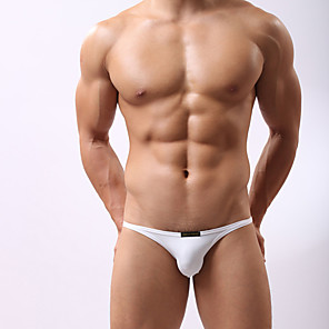 cheap Wetsuits, Diving Suits & Rash Guard Shirts-Men's Sporty Bottoms Briefs Swimwear Swimsuit Bathing Suits - Solid Colored White Black Blue Fuchsia Orange S M L / Summer / 1 Piece / Super Sexy