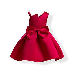お買い得  女児 ドレス-子供 女の子 甘い ソリッド リボン ノースリーブ ドレス ブルー / コットン