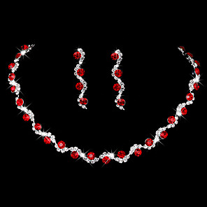 cheap Jewelry Sets-Women's AAA Cubic Zirconia Drop Earrings Choker Necklace Bridal Jewelry Sets Drop Simple Style Fashion Elegant Cubic Zirconia Earrings Jewelry Sky Blue / Red / Blue For Wedding Anniversary Party