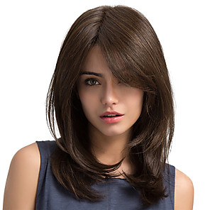 cheap Synthetic Trendy Wigs-Synthetic Wig Straight Straight Side Part Wig Long Chestnut Brown Synthetic Hair Women's With Bangs Brown MAYSU