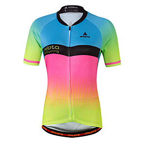 cheap Cycling Jerseys-Miloto Women's Short Sleeve Cycling Jersey - Luminous Gradient Plus Size Bike Jersey Top Spandex Coolmax® / Stretchy