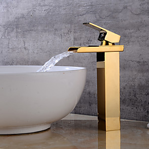 cheap Bathroom Sink Faucets-Bathroom Sink Faucet - Waterfall Gold Centerset Single Handle One HoleBath Taps