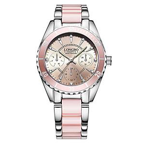 cheap Earrings-Women's Bracelet Watch Wrist Watch Quartz Ladies Water Resistant / Waterproof Stainless Steel Ceramic White / Pink Analog - White Pink Two Years Battery Life