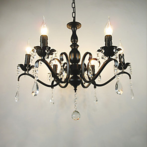 cheap Candle-Style Design-6-Light 60 cm Candle Style Chandelier Metal Black Chic & Modern / Modern Contemporary / Traditional / Classic 110-120V / 220-240V