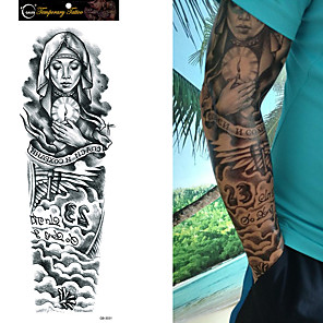 cheap Tattoo Stickers-1/4/8 pcs Waterproof Temporary Tattoo Sticker Full Arm Large Skull Old School Tatoo Stickers Flash Fake Tattoos for Men Women