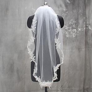 cheap Party Accessories-One-tier Lace Applique Edge Wedding Veil Elbow Veils with Appliques Lace / Tulle / Mantilla