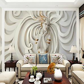cheap Wallpaper-Relief Art Beauty Custom 3D Large Wallcovering Mural Wallpapers Moderate Restaurant TV Background Wall Art