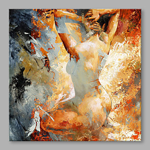 cheap Abstract Paintings-Oil Painting Hand Painted - People Classic Stretched Canvas