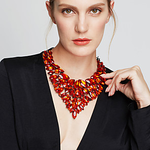 cheap Jewelry Sets-Women's Sapphire Crystal Statement Necklace Bib necklace Pear Cut Bib Chunky Statement Ladies Luxury Elegant Synthetic Gemstones Zircon Yellow Red Blue Green Rainbow Necklace Jewelry For Party