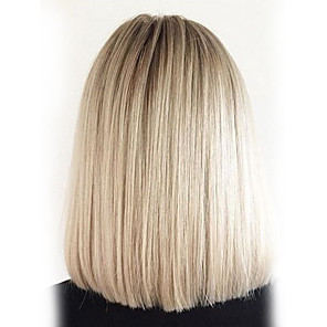 cheap Synthetic Trendy Wigs-Human Hair Blend Wig Straight Classic Classic Straight Ombre Machine Made Black / Grey Daily