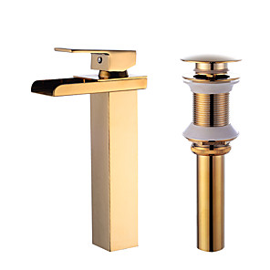 cheap Bathroom Sink Faucets-Faucet Set - Waterfall Gold Centerset Single Handle One HoleBath Taps