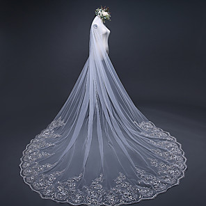 cheap Wedding Slips-One-tier Lace Applique Edge Wedding Veil Chapel Veils / Cathedral Veils with Ruched / Ruffles / Embroidery Tulle / Classic
