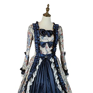 cheap Historical & Vintage Costumes-Vintage Victorian 18th Century Party Costume Women's Costume Ink Blue / Blue / Gray Vintage Cosplay Long Sleeve Asymmetrical / Petticoat