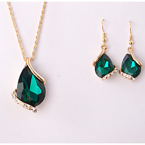 cheap Jewelry Sets-Women's Jewelry Set Pendant Drop Rhinestone Earrings Jewelry White / Blue / Green For Wedding Party Special Occasion Anniversary Birthday