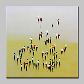 cheap Abstract Paintings-Oil Painting Hand Painted - People Abstract Modern Rolled Canvas