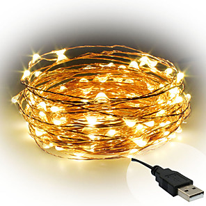 cheap LED String Lights-10m String Lights 100 LEDs SMD 0603 1pc Warm White / White / Red Decorative USB Powered / IP65