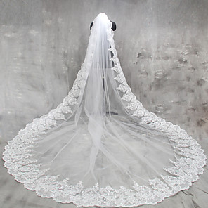 cheap Wedding Slips-One-tier Lace Applique Edge Wedding Veil Cathedral Veils with Appliques Lace / Tulle / Classic