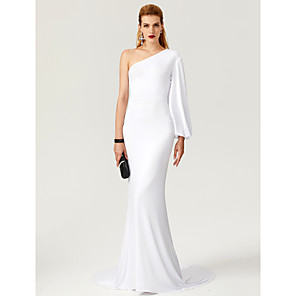 cheap Special Occasion Dresses-Mermaid / Trumpet Celebrity Style White Engagement Formal Evening Dress One Shoulder Long Sleeve Court Train Jersey with Pleats 2020