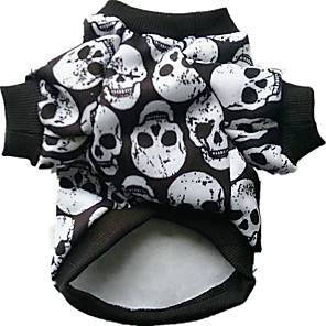 cheap Dog Clothes-Dog Costume Skull Cosplay Halloween Winter Dog Clothes Rainbow White Black Costume Cotton XXS XS S M L XL