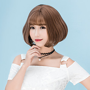 cheap Synthetic Trendy Wigs-Synthetic Wig Straight Straight Bob With Bangs Wig Short Flaxen Chestnut Brown Ash Brown Brown Grey Synthetic Hair Women's Brown Gray