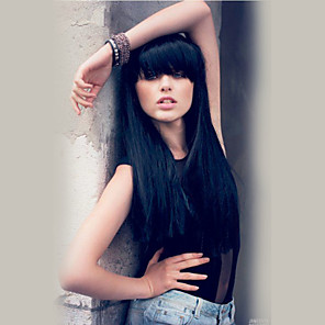cheap Human Hair Capless Wigs-Human Hair Blend Wig Long Straight With Bangs Straight Machine Made Women's Natural Black #1B