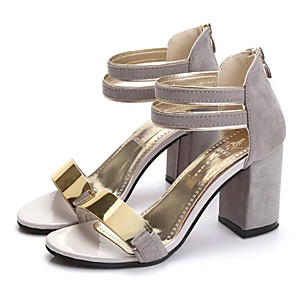 cheap Women's Sandals-Women's Sandals Chunky Heel Open Toe Club Shoes Dress Metal Nubuck Summer Black / Red / Beige / EU39