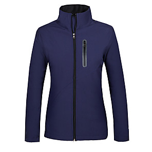 cheap Softshell, Fleece & Hiking Jackets-Women's Hiking Softshell Jacket Hiking Jacket Winter Outdoor Thermal / Warm Waterproof Windproof Fleece Lining Fleece Softshell Jacket Top Violet Red Dark Blue Camping / Hiking Hunting Fishing S M L
