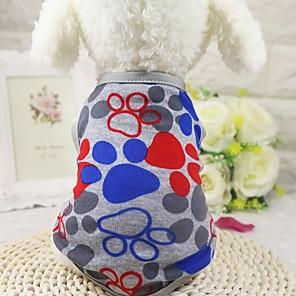 cheap Dog Clothes-Dog Shirt / T-Shirt Vest Dog Clothes Blue Gray Costume Cotton Geometic Casual / Daily Fashion XS S M L XL XXL